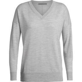 Icebreaker Shearer V-hals Sweater Dames, grijs